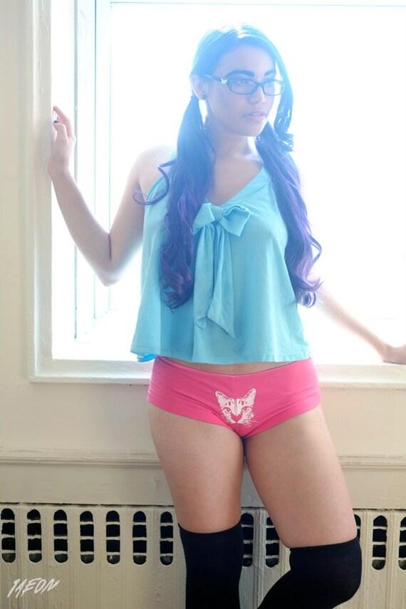 sexy pink underwear, fuchsia, katze unterwäsche, womens cat underwear, pink panties, knickers, cat underwear, cat undies, pink boy short S-L
