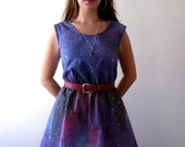Galaxy dress cosmic nebula grunge dress purple blue grey - luminia