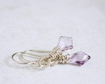 Geometric AMETHYST kite briolette sterling silver earrings