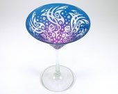 Neptune Martini Glass - Etched and Painted Glass Stemware - Custom Personalized Barware
