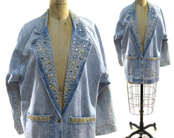 SALE 80s Acid Wash Jacket / Vintage 1980s Studded Denim Blazer / Novelty Rocker Coat / Light Stone Wash Oversized Jeans Jacket / M L