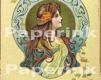 Art Nouveau DIGITAL Download Printable Antique Art Nouveau Postcard Digital Illustration