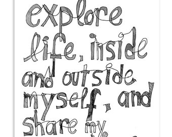 I want to explore life, inside and outside myself - Inspirational Postcard (Set of 5)