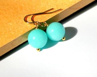Blue Jade Earrings, Gold Vermeil, Cotton Candy Jade Stone Earrings