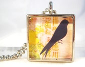 Bird Necklace, Glass Pendant, Collage Image, Raven Bird, Crow Bird, Black Bird, Bird Jewelry, Silhouette Jewelry, Ball Chain, Jewelry Gift