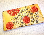 Slim Cosmetic Pouch Floral Zipper Bag Accessory Pouch Coral Red and Yellow Pencil Case - BizzieLizzie