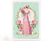 Jane Austen, card, Regency lady, vintage style, birthday card, pink roses, stripes, gold frame, cake, mint green