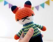 arnold .. stuffed plushie toy fox, boy doll, crochet amigurumi animal