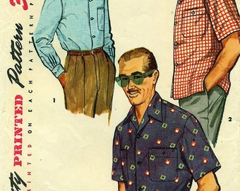 Simplicity 4981 Sports Shirt 1950s Men's Small Chest 34 36 c. 1954