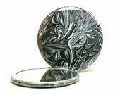 Marbled Pocket Mirror 6, Classic Black & White, Marbled Paper Mirror, Small Round Glass Mirror