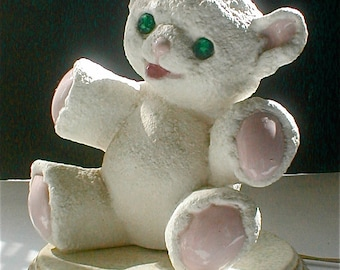 Happy Teddy Bear Lamp Ceramic Nursery Light Pink Paws and Green Sparkle Eyes Baby's Room - Vintage Babys Room Lighting