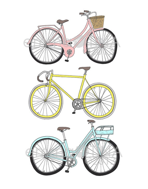 Bikes Decorative Illustration Art Poster