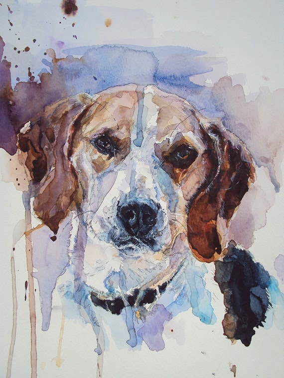 Custom pet portrait 12 x 16. Watercolor by MimiLoveForever ...