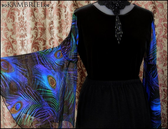 Black Velvet Peacock Top by Kambriel - Dramatic Flared Sleeves made from Soft Sheer Netting - Brand New & Ready to Ship!