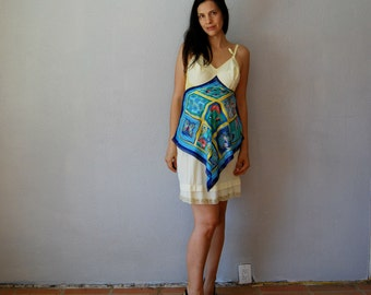 vintage recycled pastel yellow FLORALS slip dress