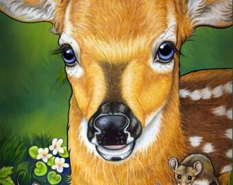 Deer Fawn Baby Fine Art Print Hand Enhanced by Artist