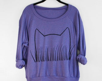 Womens Cat Ears Slouchy Sweatshirt, pullover, gift for women, graphic tee women, teen sweatshirts gift for her, cat lover gift cat lady gift