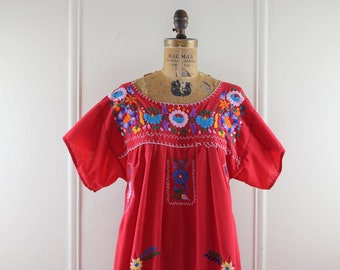 1970s Red Mexican Oaxacan Dress with Embroidered Flowers - vintage Bohemian Maxi Sundress
