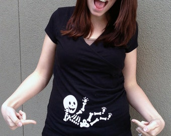 DIY Maternity Costume Baby Skeleton Costume - Pregnant Halloween Costume - Baby Skeleton Iron On Decal Pregnant Costume DIY Maternity Shirt