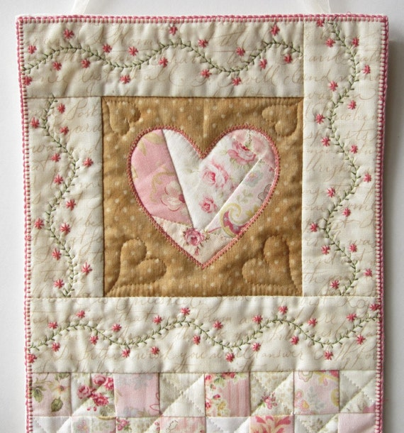Heart Wall Quilt Shabby Cottage Chic Wall Quilt Mini Quilt