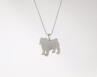 SALE! Mod English Bulldog Sterling Silver Silhouette Pendant Necklace - Dog Lover Jewelry