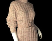 Vintage Cable Knit 70s Belted Turtleneck Sweater L