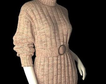 Vintage Cable Knit 70s Belted Turtleneck Sweater L