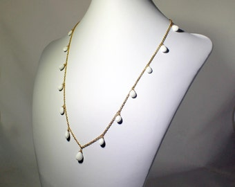 White Agate Necklace Briolette Charm Chain Strand CHN-N-101-WA/24