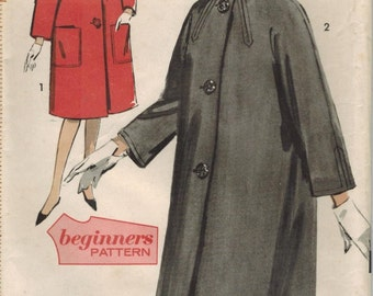 1960s Advance 3016 UNCUT Vintage Sewing Pattern Misses Coat and Scarf Size 12 Bust 32