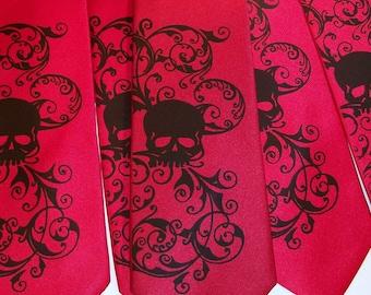 Skull necktie custom colors, print to order Distressed Skull Design