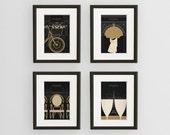 SALE, Art Deco Paris Illustration Collection, Fine Art Prints, Black and Gold Paris Prints, Paris Wall Art, Francophile