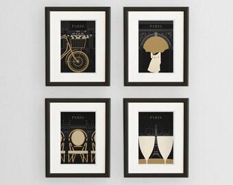 SALE! SALE, Art Deco Paris Illustration Collection, Fine Art Prints, Black and Gold Paris Prints, Paris Wall Art, Francophile