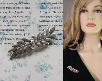 Vintage 50s Danecraft Sterling Silver Laurel Leaf Brooch Pin