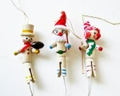 Vintage Clothespin Ornaments - Sports Figures - Christmas Decor - Xmas - BeeJayKay