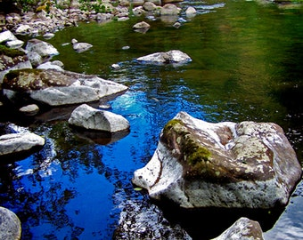 Forest River Blue Sky Reflection White Stones Fine Art Photography Enchanted Woods Oregon Greeting Card STORIES IN STONES by Spinning Castle