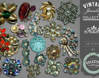INSTANT DOWNLOAD - Vintage Rhinestone Jewelry Box Royalty-Free Graphics, Print, Web, Scrapbook, Design, Commercial Use OK