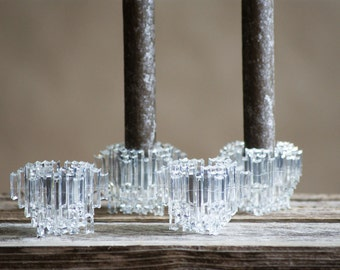 Vintage Winter Candle Holders for New Years,  Ice Crystals,  James Cole, Made in Italy, Star Shape, Clear Acrylic , Mid Century Italian