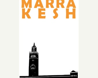 Marrakesh Poster (12x18 / 13x19) Morocco Travel Poster