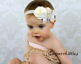 Cream Baby Headband -  Lace Butterfly Baby Flower Headband - Newborn Headband - Vintage Rosette Headband - Baby/Toddler/Girl