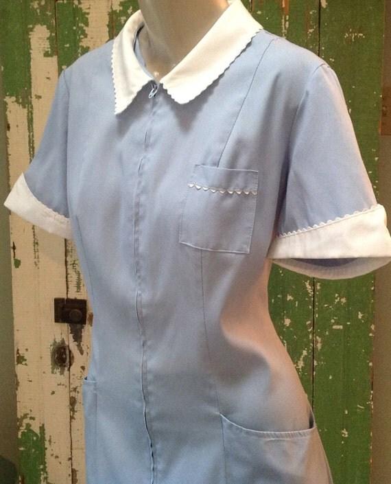 Powder Blue Uniform Dress Maid Costume Waitress Diner Nurse
