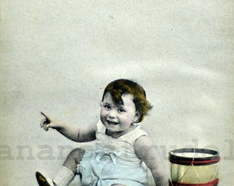 Early 1900s Antique French Hand-Coloured Photograph. Smiling Baby and Drum Portrait Photograph