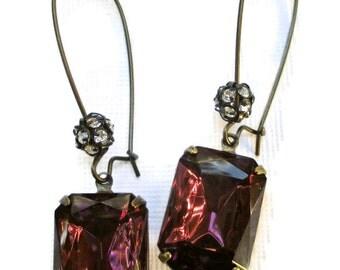 Art Deco Jewelry Amethyst Purple Earrings Dangle Earrings Bridesmaids Gifts MADELINE Amethyst Purple