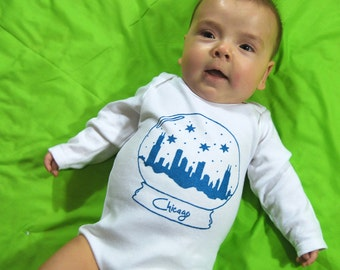 Chicago Snow Globe Baby One Piece Bodysuit- Pick Your Size