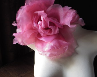 SALE Hot Pink Grand Millinery Rose Silk Velvet & Organdy for Bridal, Couture, Corsages, Bouquets MF 5932