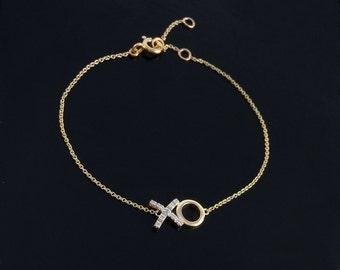 Hugs ans Kisses Diamond Bracelet in 14kt Gold