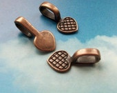 SALE - 20 heart shaped glue on bails, copper tone, 21mm