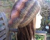 Noro wool silk Japanese luxury yarn beret hand knit by irish granny brown purple green