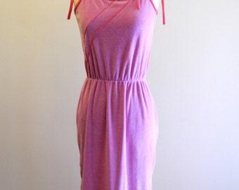 PINK velour 70s / 80s asymmetrical striped sundress sz. Small / Medium