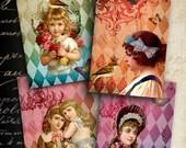 Printables Gift tags HARLEKIN GIRLS Digital Collage Sheet 2.5x3.5 inch size Vintage ephemera Greeting cards Jewelry Holders paper goods