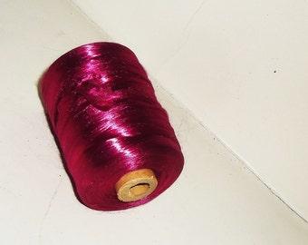 Vintage Spool Thread  MAGENTA  Silk Embroidery Floss Yarn Bead Cord Lace Tatting Supply
